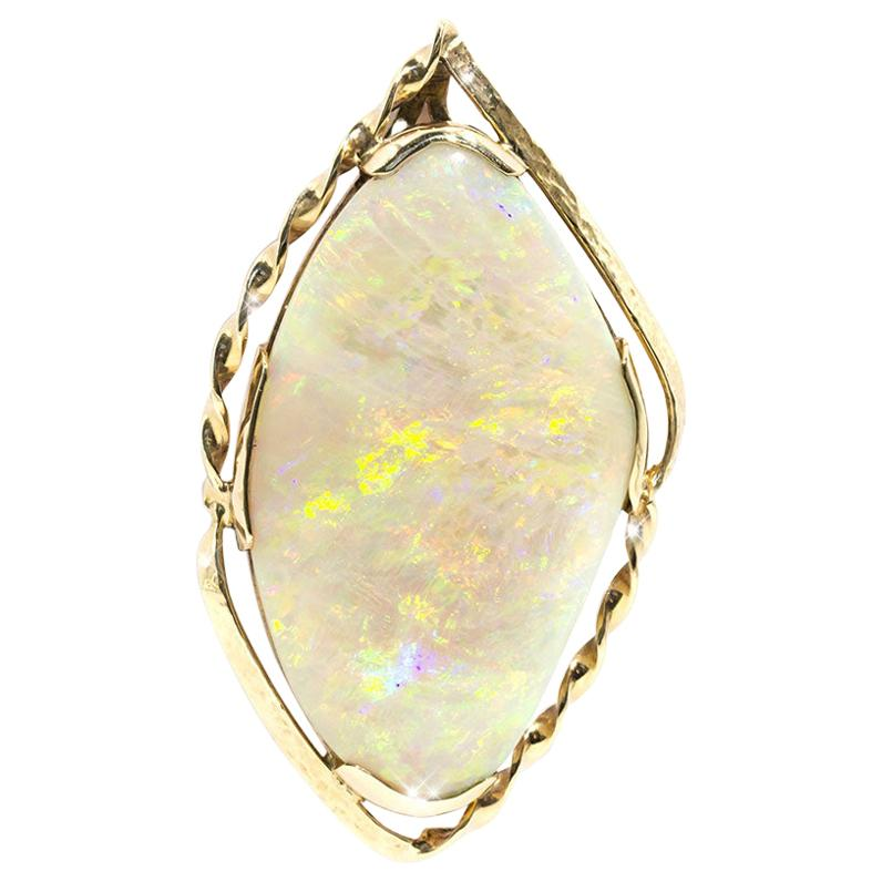 31 Carat Solid Australian Crystal Opal 9 Carat Yellow Gold Vintage Pendant