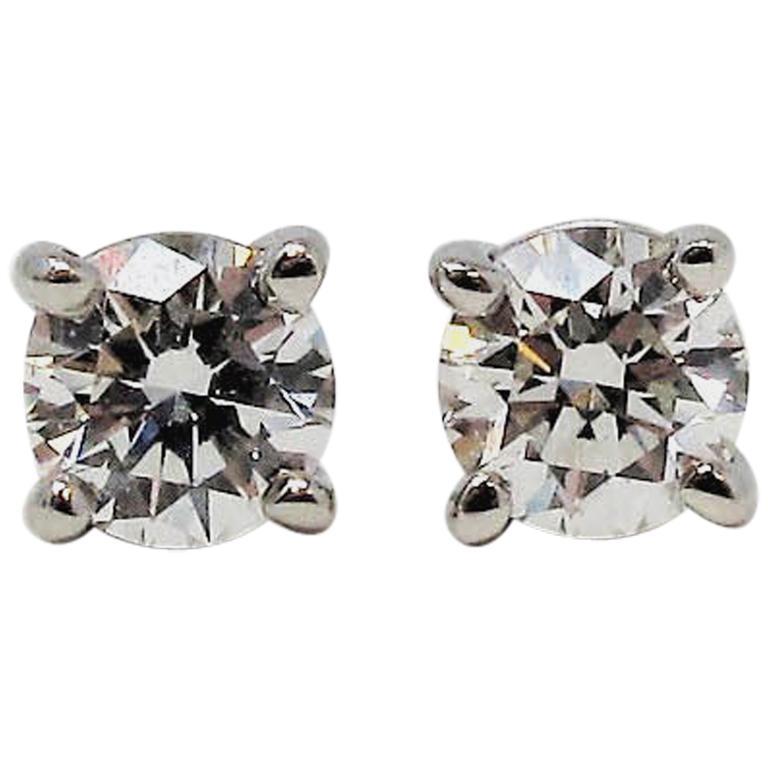 .31 Carat Tiffany & Co. Round Brilliant Solitaire Diamond Platinum Stud Earrings