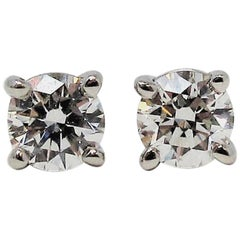 .31 Carat Tiffany & Co. Round Brilliant Solitaire Diamond Platinum Stud Earrings