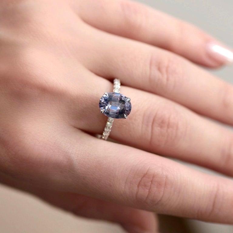 Oval Cut 5.5 Carat Violet-Grey Spinel Diamond 14 Karat White Gold Ring For Sale