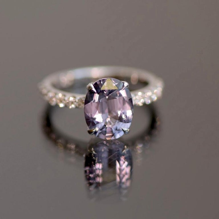 5.5 Carat Violet-Grey Spinel Diamond 14 Karat White Gold Ring In New Condition For Sale In Yerevan, AM