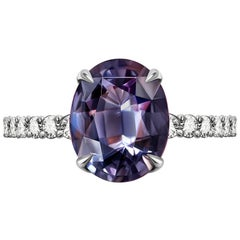 5.5 Carat Violet-Grey Spinel Diamond 14 Karat White Gold Ring