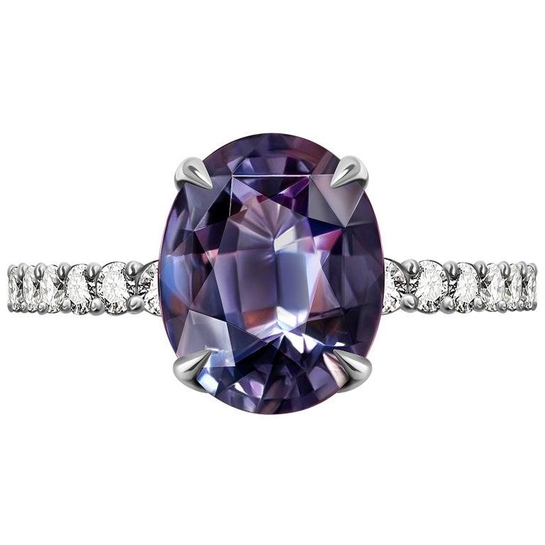 5.5 Carat Violet-Grey Spinel Diamond 14 Karat White Gold Ring For Sale