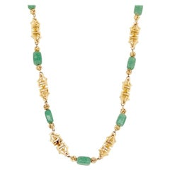 """31"""" Ornate Asian Motif Link Necklace With Jade Peking Glass By Napier, 1960s"""