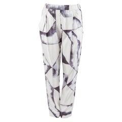 3.1 Philip Lim Monochrome Geometric Print Silk Twill Relaxed Trousers S
