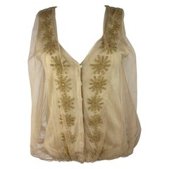 3.1 Phillip Lim Beige Knit and Tulle Vest Blouse Top, Size Small