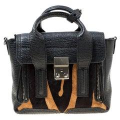 3.1 Phillip Lim Black/Brown Leather and Calfhair Mini Pashli Top Handle Bag