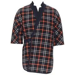 3.1 PHILLIP LIM black checkered quilted cotton short sleeve kimono overshirt XS