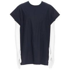 3.1 PHILLIP LIM black cotton shirting cap sleeve oversized tunic top L