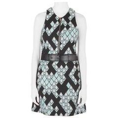 3.1 Phillip Lim Black Digital Anaconda Pattern Jacquard Belted Sleeveles Dress S
