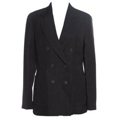 3.1 Phillip Lim Black Jute and Silk Blend Double Breasted Blazer M