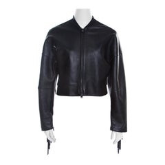3.1 Phillip Lim Black Lamb Leather Fringed Trim Cropped Bomber Jacket S