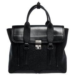 3.1 Phillip Lim Black Leather and Glitter Medium Pashli Satchel