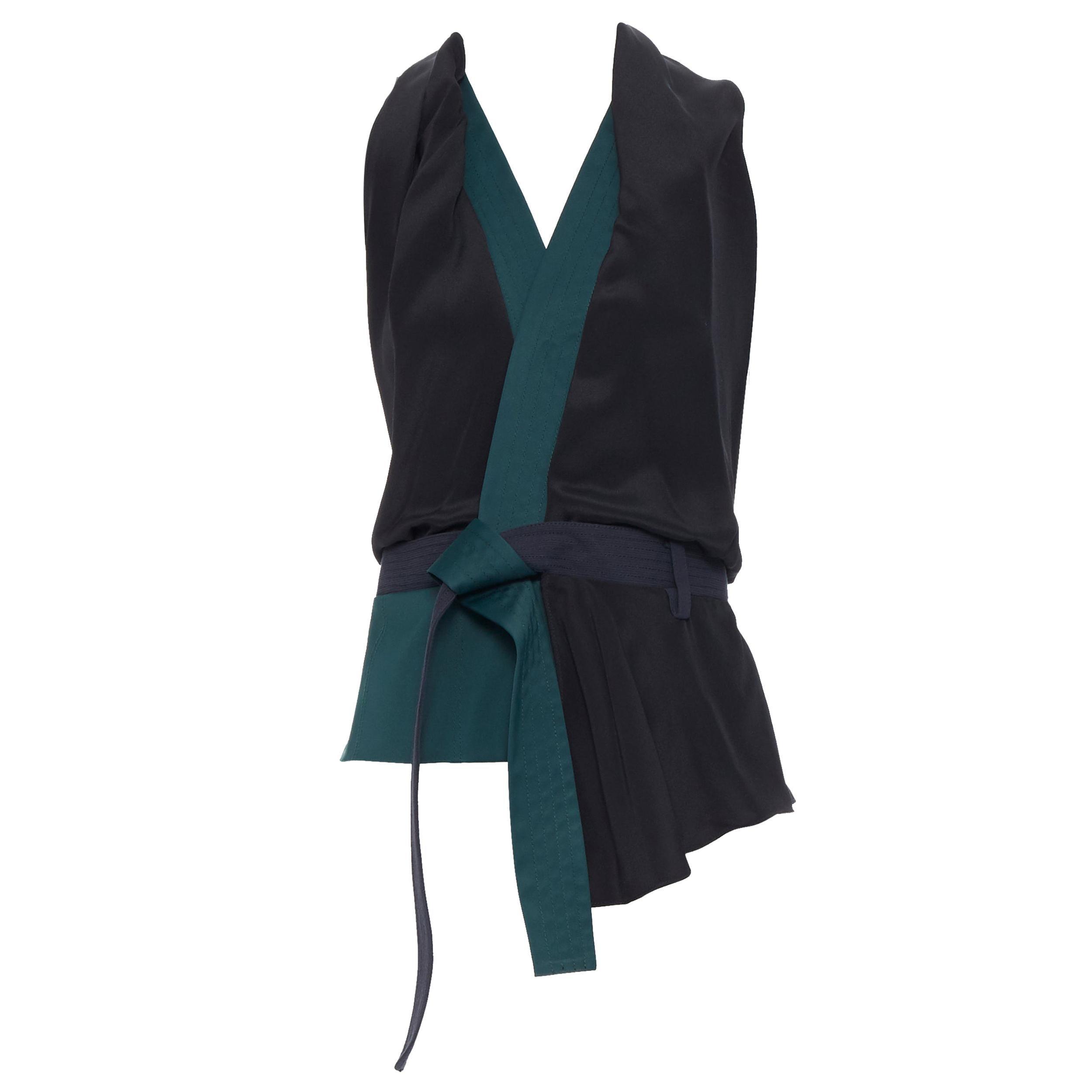 3.1 PHILLIP LIM black silk emerald green obi belt cross open back draped vest S
