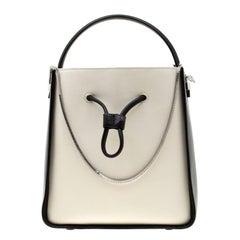 3.1 Phillip Lim Black/White Leather Small Soleil Bucket Bag