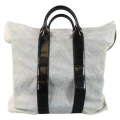 3.1 PHILLIP LIM Blue Denim Black Leather 31 Hour Bag