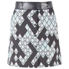 3.1 Phillip Lim Celadon Black Geometric Patterned Leather Belted Skirt S