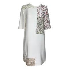 3.1 Phillip Lim Cream Patchwork Mini Floral Print Silk Dress
