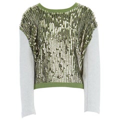 3.1 PHILLIP LIM gold sequins embellished green wool contrast sleeve sweater XS