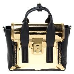 3.1 Phillip Lim Metallic Gold/Black Leather Mini Pashli Top Handle Bag