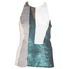3.1 Phillip Lim Multicolor Sequin Paneled Sheer Insert Sleeveless Cocktail Top S