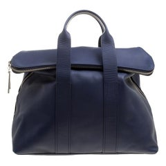 3.1 Phillip Lim Navy Blue Leather Fold Over Tote