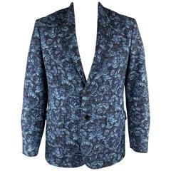 3.1 PHILLIP LIM Navy Floral Viscose Blend Notch Lapel Chest Size 42 Sport Coat