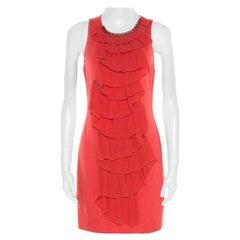 3.1 Phillip Lim Orange Stretch Chiffon Ruffled Embellished Sleeveless Dress M