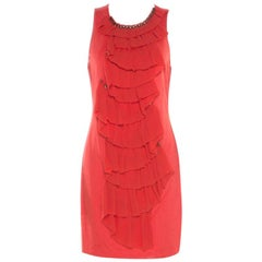 3.1 Phillip Lim Orange Stretch Knit Chiffon Ruffled Sleeveless Dress M