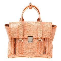 3.1 Phillip Lim Orange/White Textured Leather Pashli Satchel