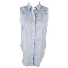 3.1 PHILLIP LIM Size 2 Light Blue Striped Poplin Cotton Blouse