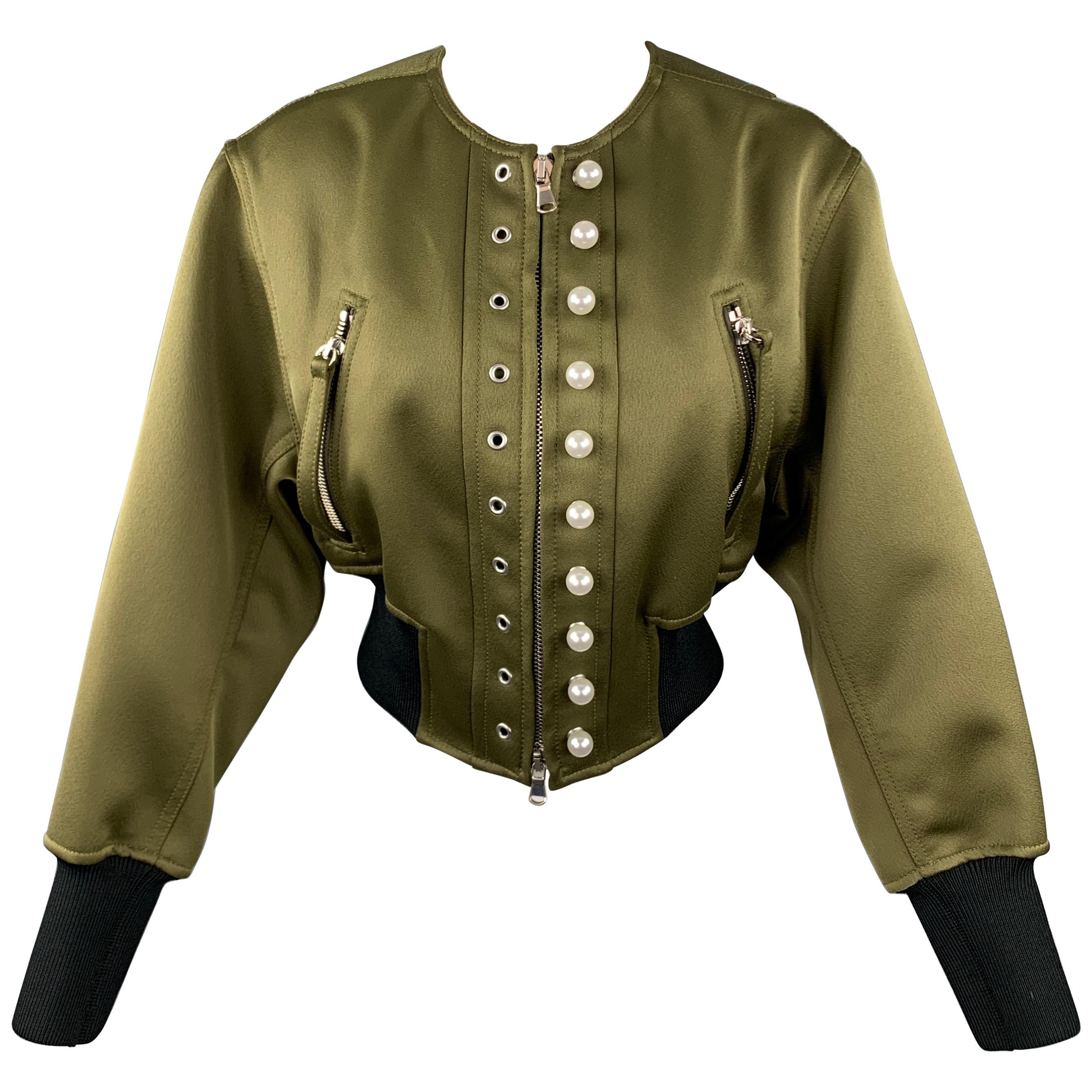 3.1 PHILLIP LIM Size 2 Olive Satin Polyester Bomber Jacket