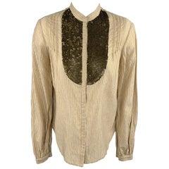 3.1 PHILLIP LIM Size 4 Gold Metallic Striped Sequin Bib Blouse