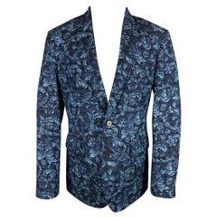 3.1 PHILLIP LIM Size 40 Navy & Blue Floral Viscose / Polyester Notch Lapel Sport