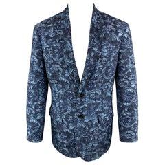 3.1 PHILLIP LIM Size 42 Floral Navy Jacquard Blend Notch Lapel Sport Coat