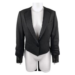 3.1 PHILLIP LIM Size 6 Black Woven Tuxedo Lapel Leather Cuff Tails Jacket
