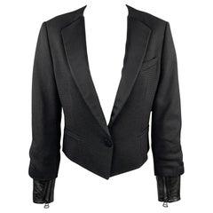 3.1 PHILLIP LIM Size XS Black Woven Tuxedo Lapel Leather Cuff Tails Jacket