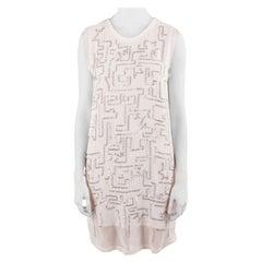 3.1 Phillip Lim White Chiffon Silver Sequined Maze Embellished Shift Dress S