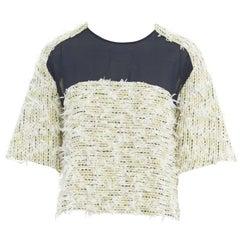 3.1 PHILLIP LIM yellow fluffy embellished tweed mesh yoke cropped top US4 M