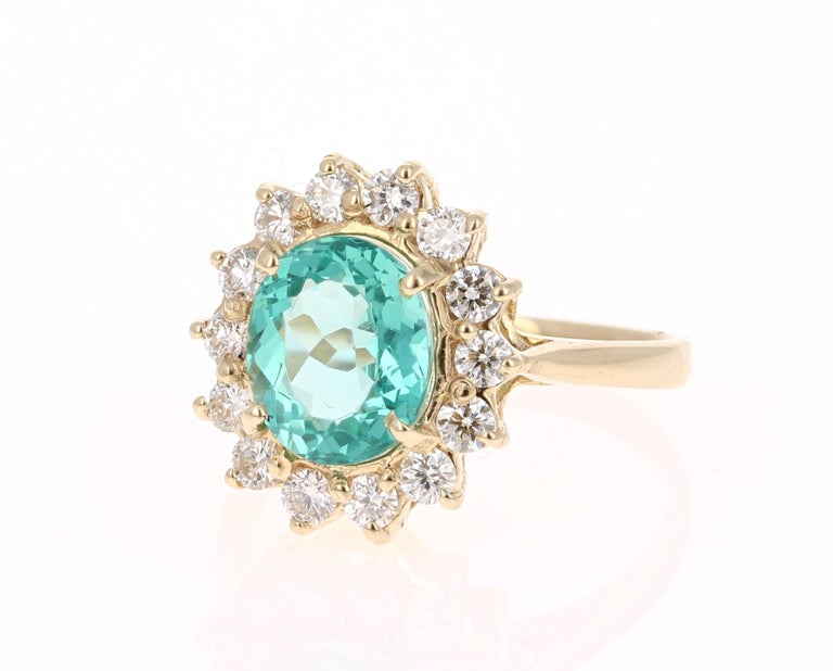 Modern 3.10 Carat Apatite Diamond 14 Karat Yellow Gold Bridal Ring