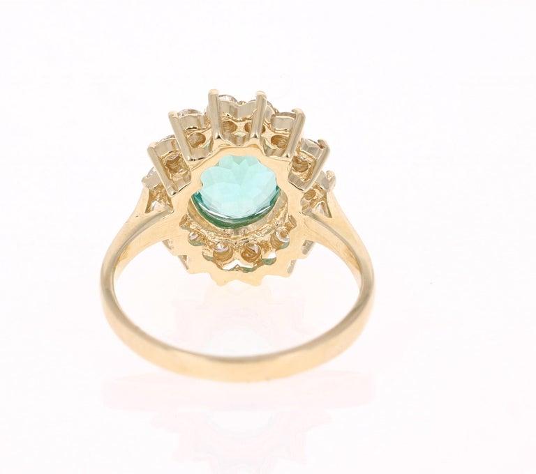 Oval Cut 3.10 Carat Apatite Diamond 14 Karat Yellow Gold Bridal Ring
