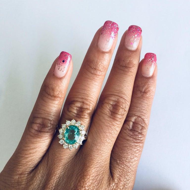 3.10 Carat Apatite Diamond 14 Karat Yellow Gold Bridal Ring In New Condition In San Dimas, CA