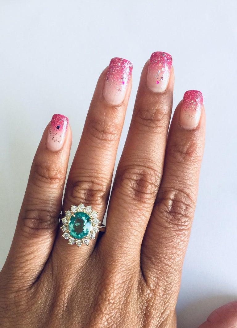 Women's 3.10 Carat Apatite Diamond 14 Karat Yellow Gold Bridal Ring