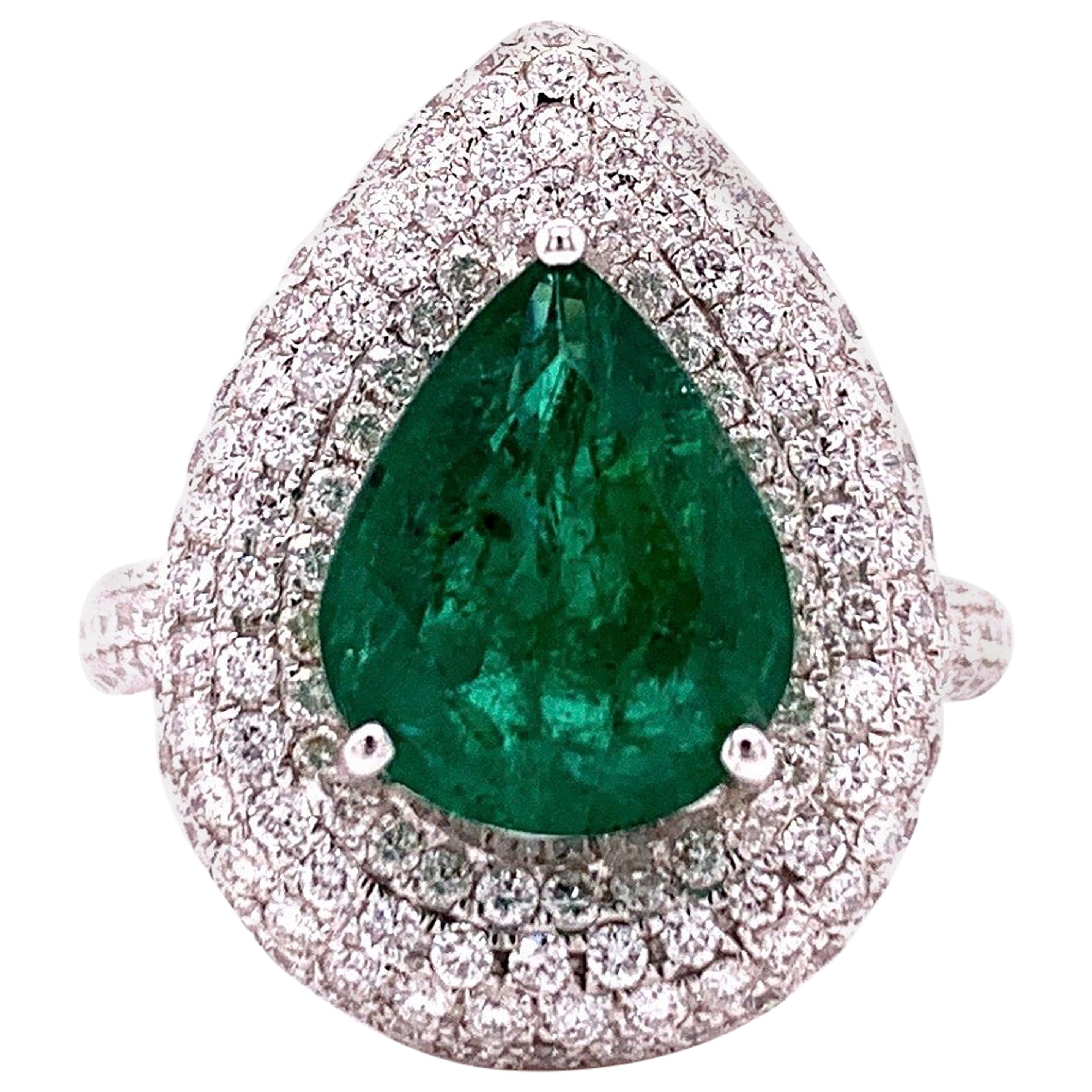 3.10 Carat Emerald Diamond Cocktail Ring