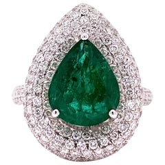 3.10 Carat Emerald Diamond Cocktail Ring