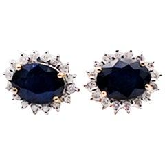 3.10 Carat Halo Blue Sapphire and Diamond Earrings 14 Karat Yellow Gold