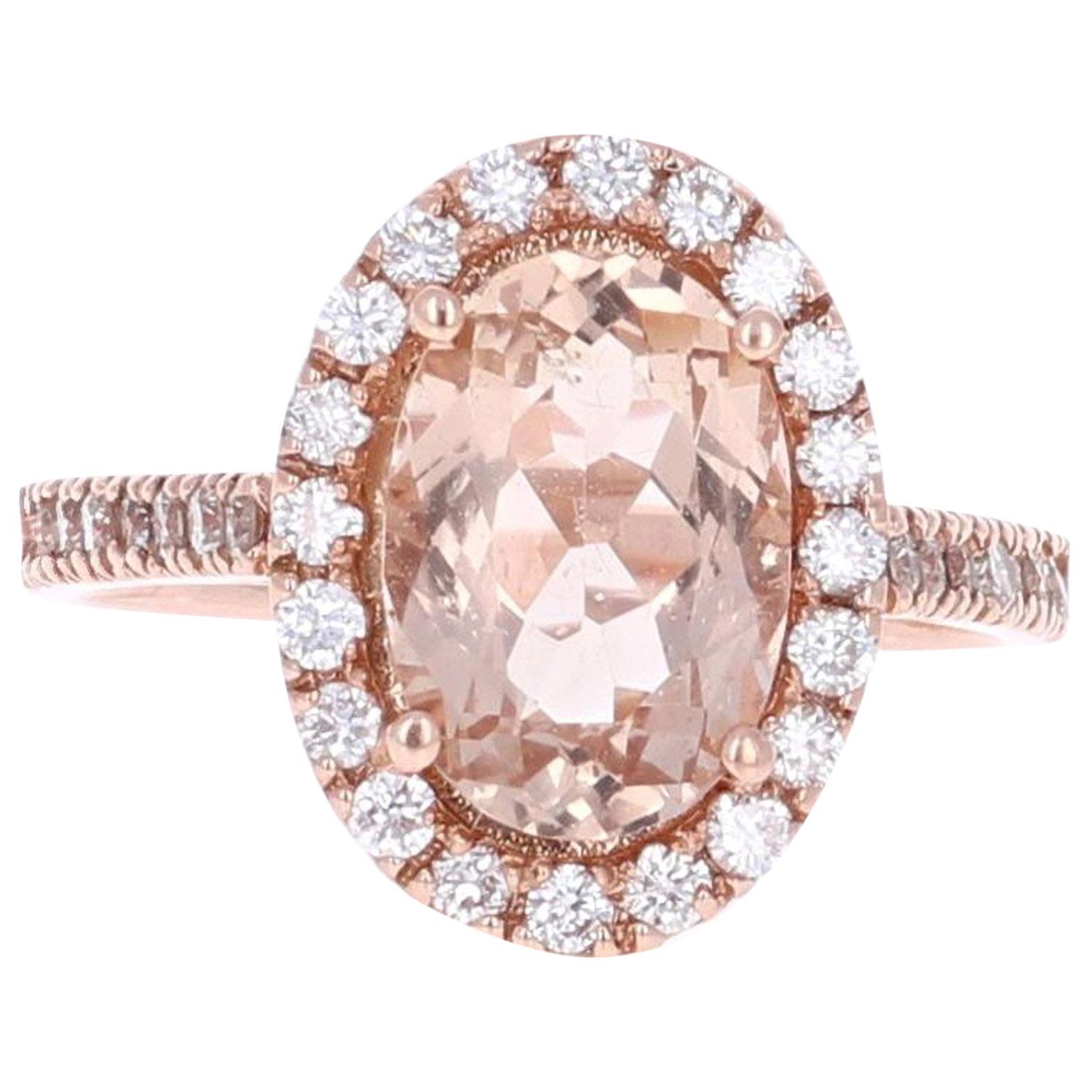 3.10 Carat Morganite Halo Diamond 14 Karat Rose Gold Ring