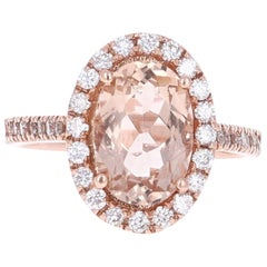 3.10 Carat Morganite Halo Diamond 14 Karat Rose Gold Ring