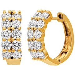 3.10 Carat Natural 2 Rows Diamond Hoop Earrings G SI 14 Karat Yellow Gold