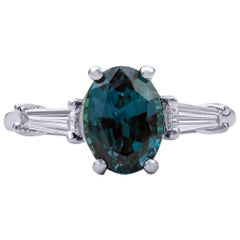 3.10 Carat Natural Brazilian Alexandrite and Diamond Ring, 18 Karat White Gold